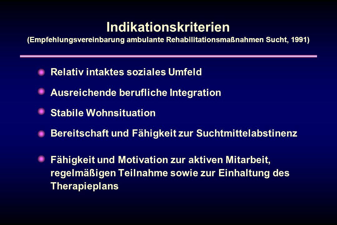 Indikationskriterien (Empfehlungsvereinbarung ambulante Rehabilitationsmaßnahmen Sucht, 1991)