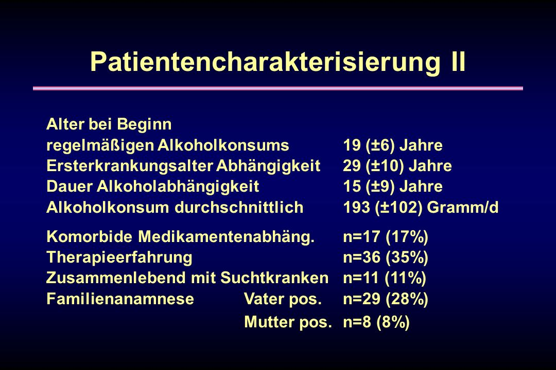 Patientencharakterisierung II