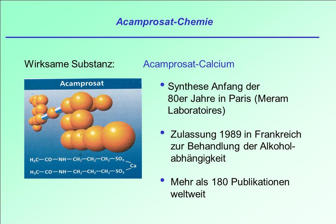 Acamprosat-Chemie Wirksame Substanz: Acamprosat-Calcium. Synthese Anfang der 80er Jahre in Paris (Meram Laboratoires)