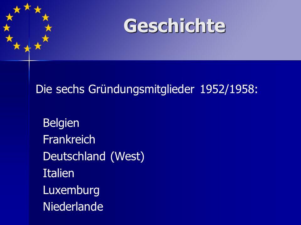 Geschichte Die sechs Gründungsmitglieder 1952/1958: Belgien Frankreich