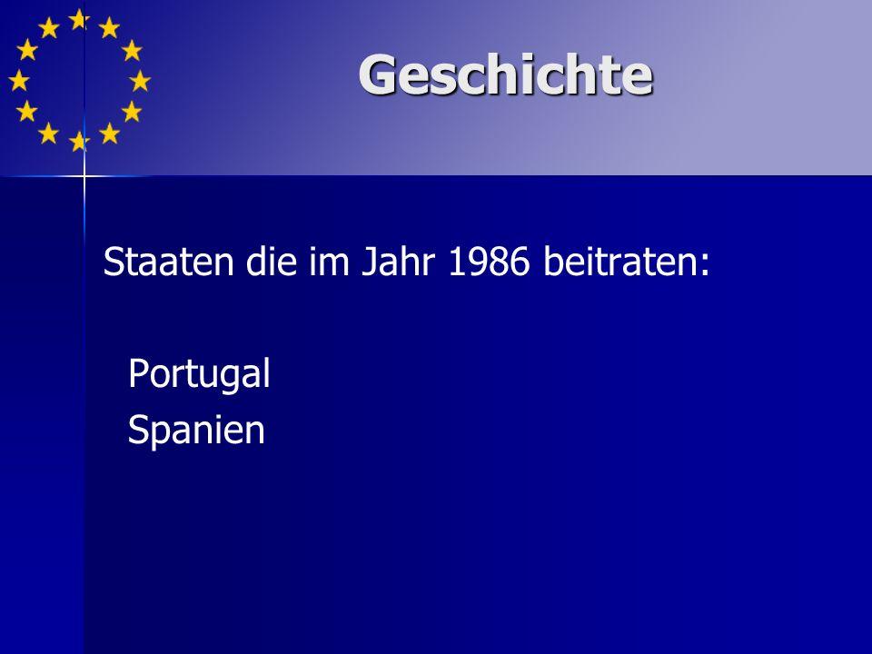 Staaten die im Jahr 1986 beitraten: Portugal Spanien
