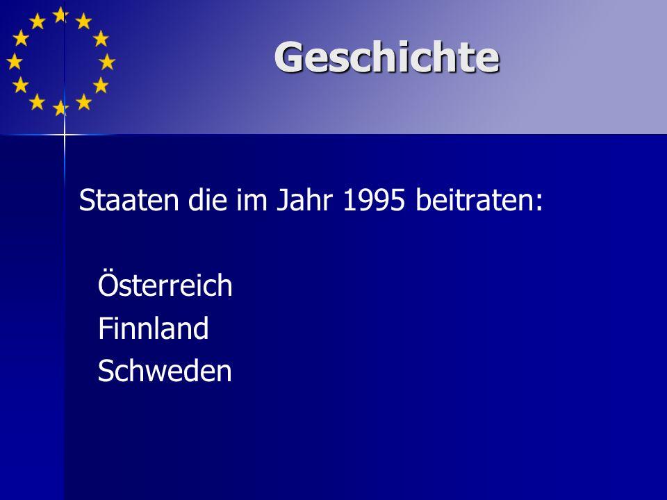 Staaten die im Jahr 1995 beitraten: Österreich Finnland Schweden