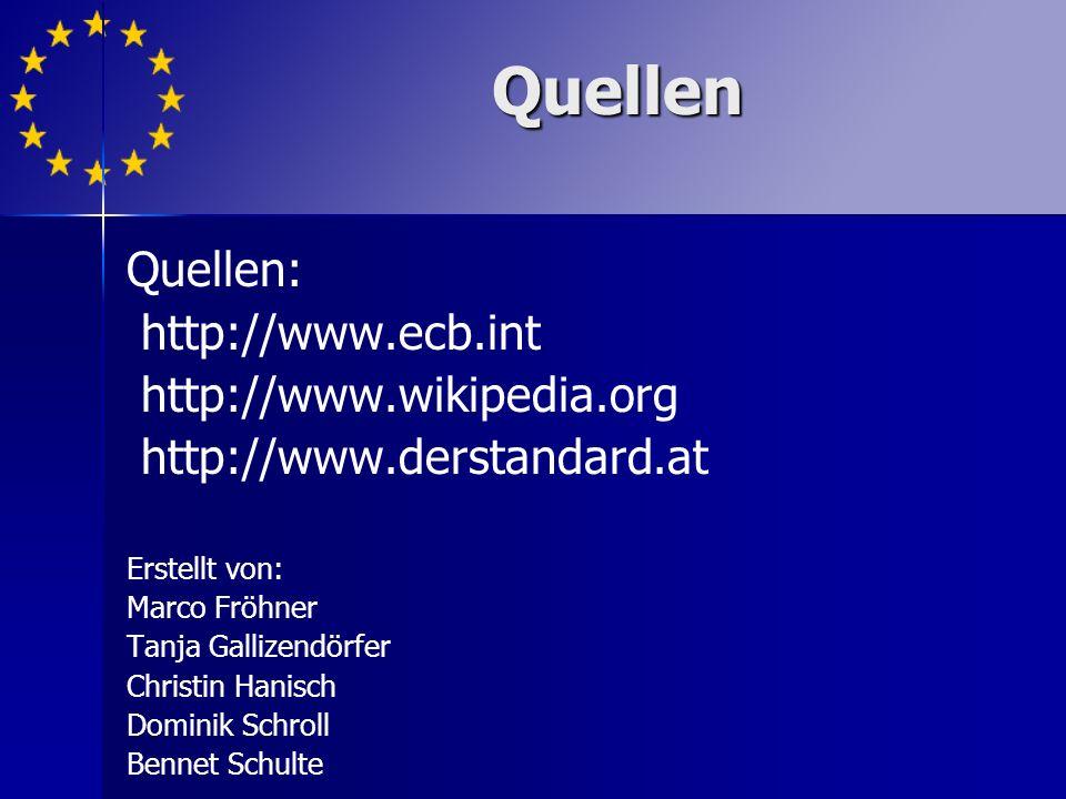Quellen Quellen: http://www.ecb.int http://www.wikipedia.org