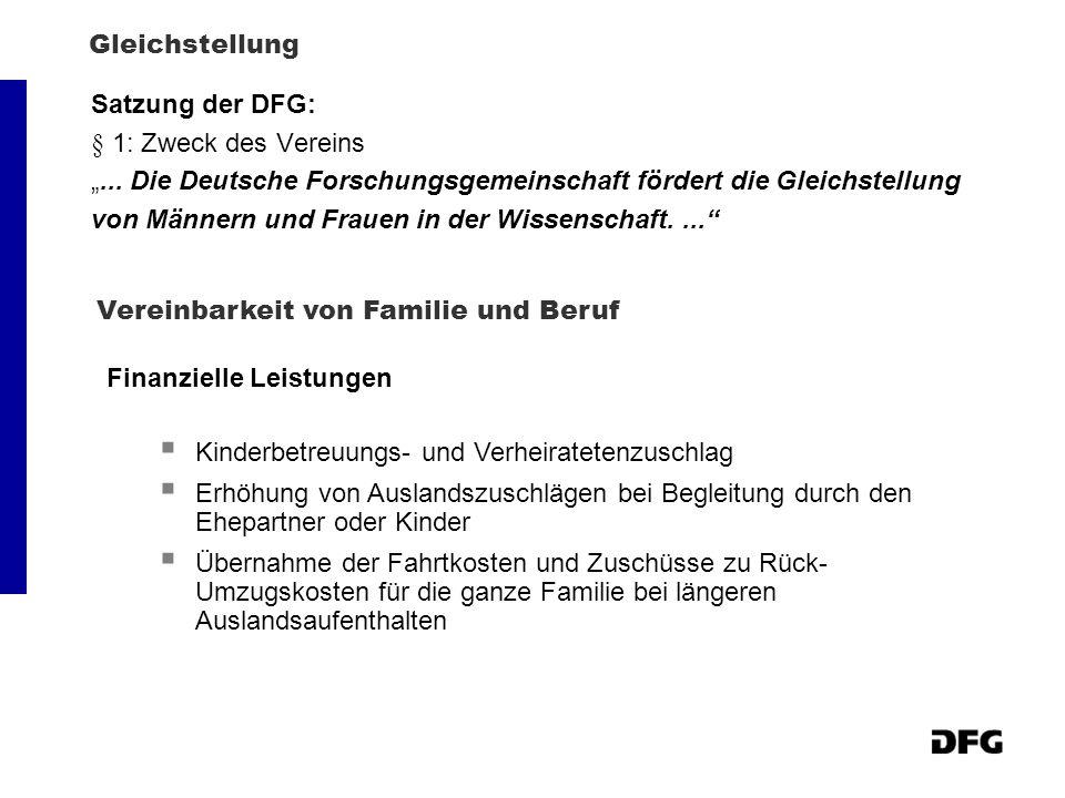 """Gleichstellung Satzung der DFG: § 1: Zweck des Vereins. """"... Die Deutsche Forschungsgemeinschaft fördert die Gleichstellung."""