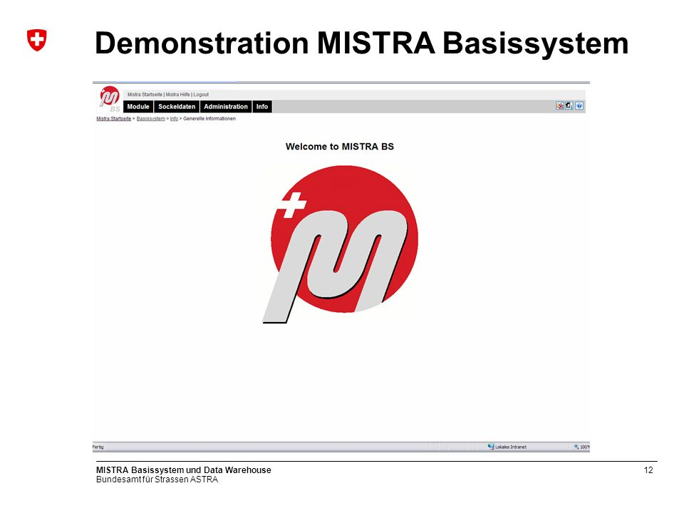Demonstration MISTRA Basissystem