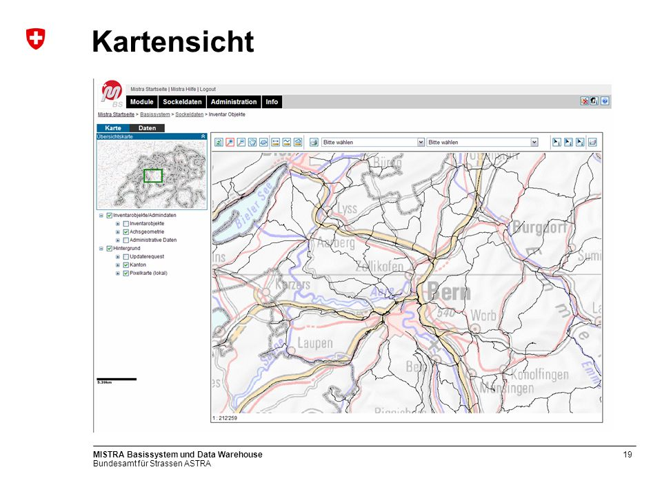 Kartensicht MISTRA Basissystem und Data Warehouse