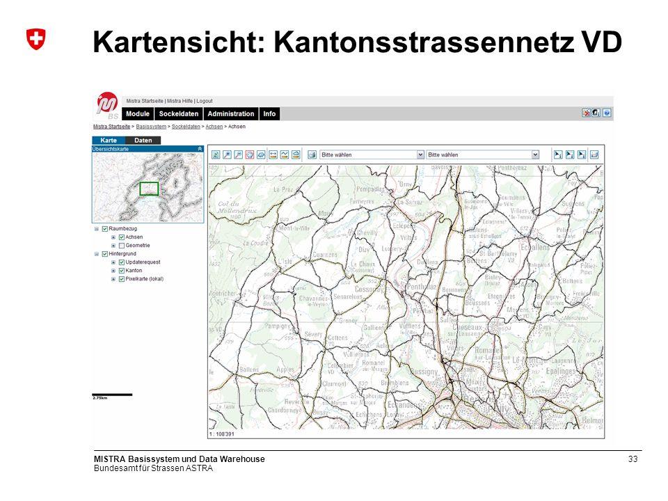 Kartensicht: Kantonsstrassennetz VD