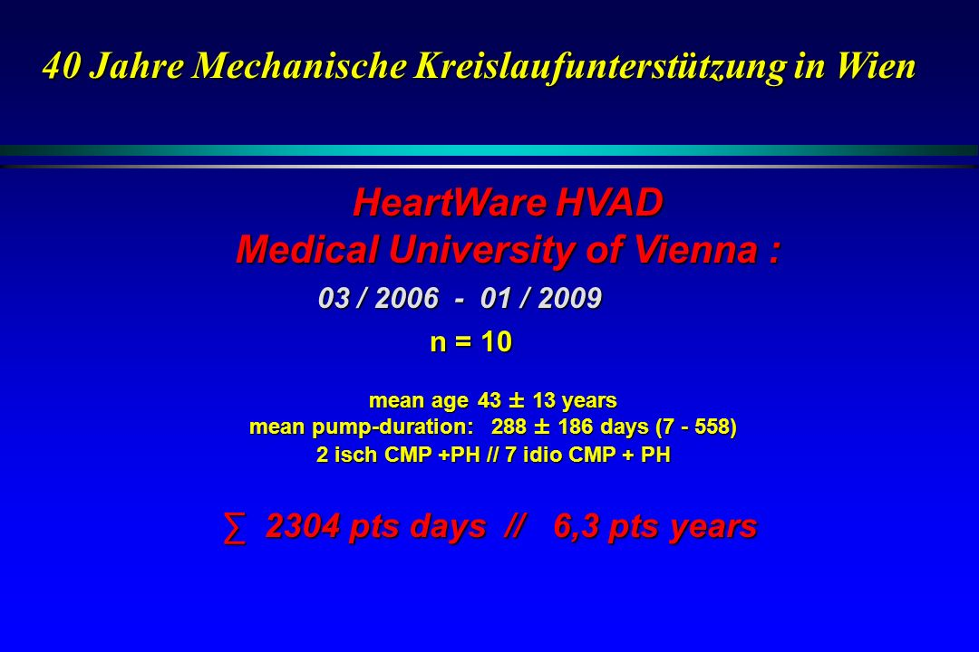 HeartWare HVAD Medical University of Vienna :