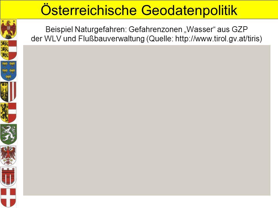 """Beispiel Naturgefahren: Gefahrenzonen """"Wasser aus GZP der WLV und Flußbauverwaltung (Quelle: http://www.tirol.gv.at/tiris)"""