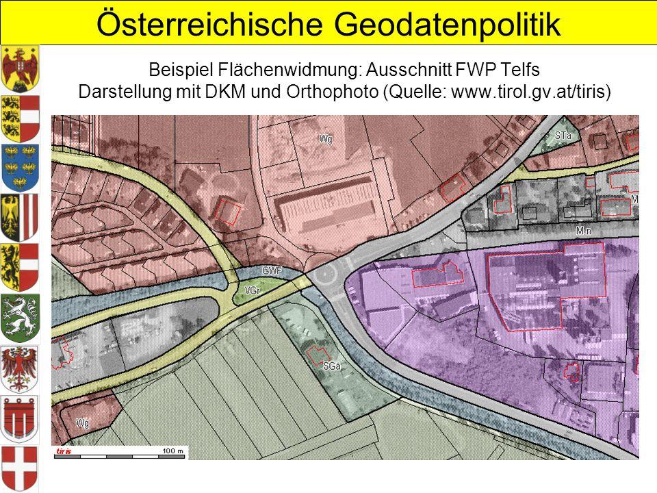 Beispiel Flächenwidmung: Ausschnitt FWP Telfs Darstellung mit DKM und Orthophoto (Quelle: www.tirol.gv.at/tiris)