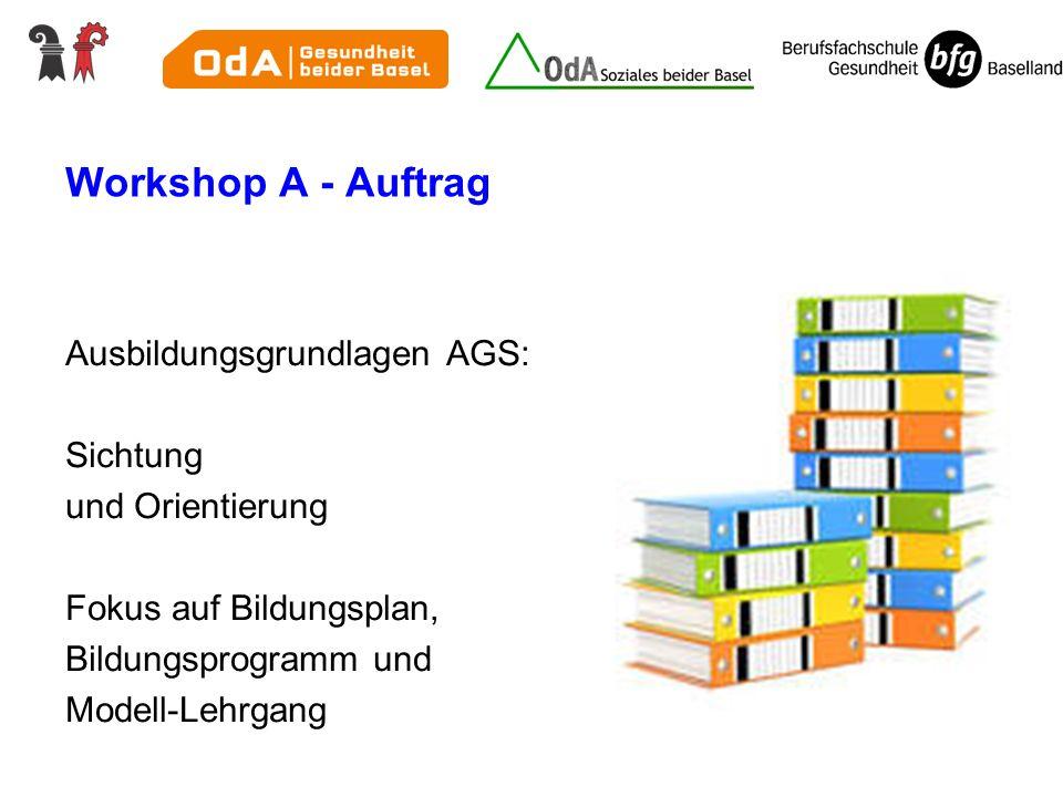 Workshop A - Auftrag Ausbildungsgrundlagen AGS: Sichtung