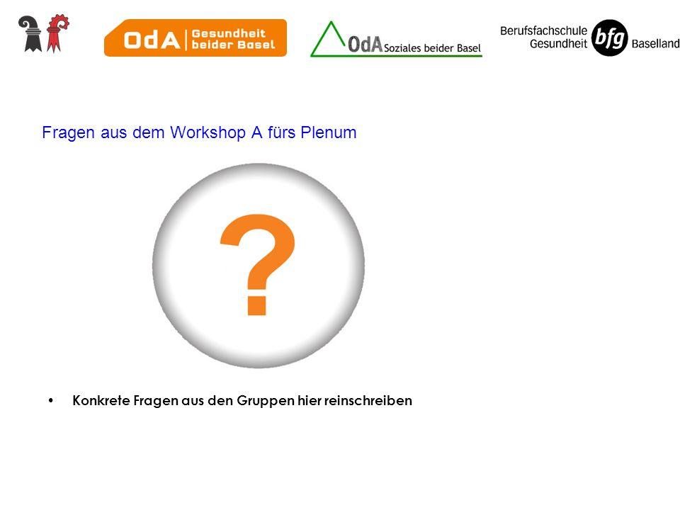 Fragen aus dem Workshop A fürs Plenum