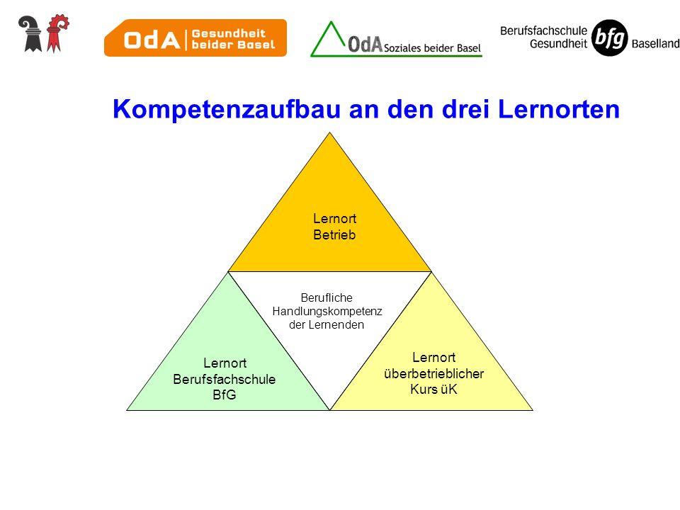 Kompetenzaufbau an den drei Lernorten