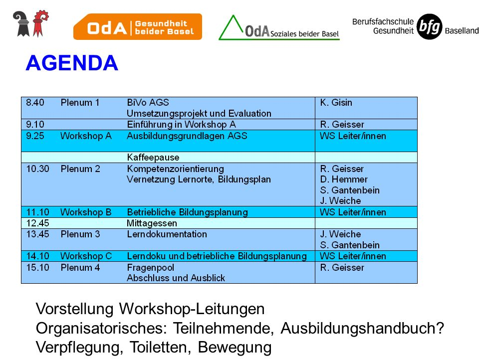 AGENDA Vorstellung Workshop-Leitungen