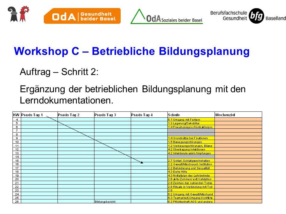Workshop C – Betriebliche Bildungsplanung