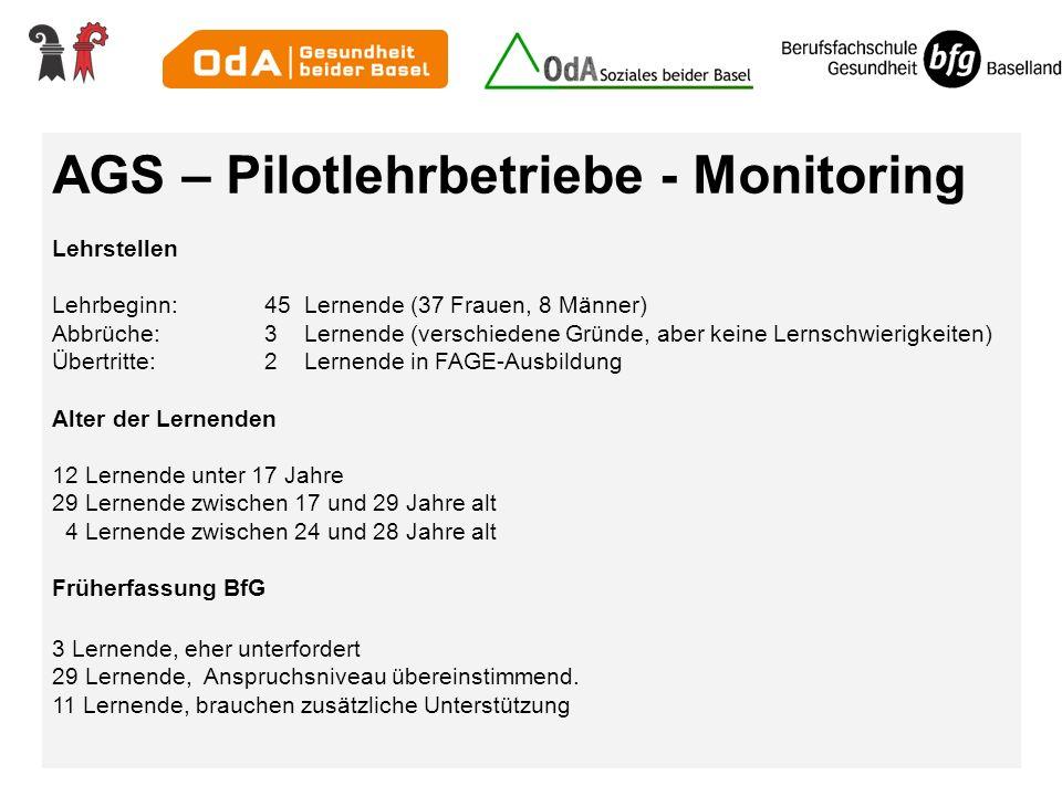 AGS – Pilotlehrbetriebe - Monitoring
