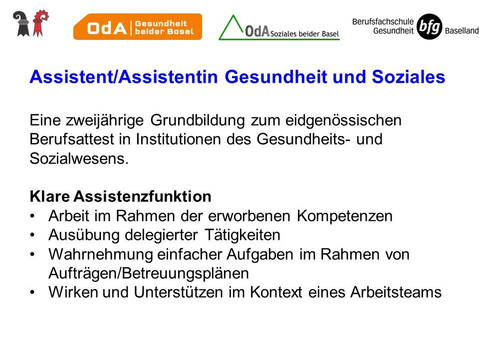 Assistent/Assistentin Gesundheit und Soziales