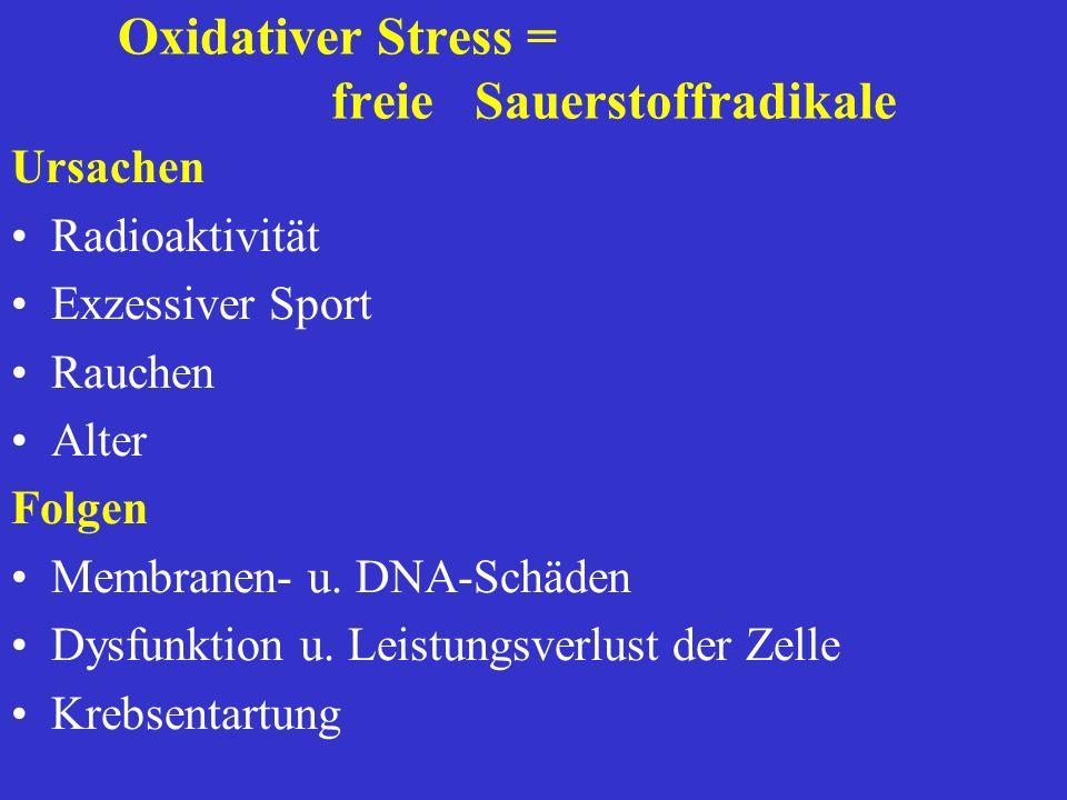 Oxidativer Stress = freie Sauerstoffradikale