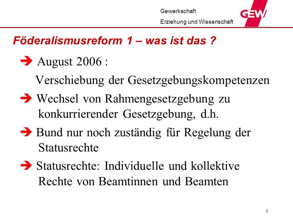 Föderalismusreform 1 – was ist das