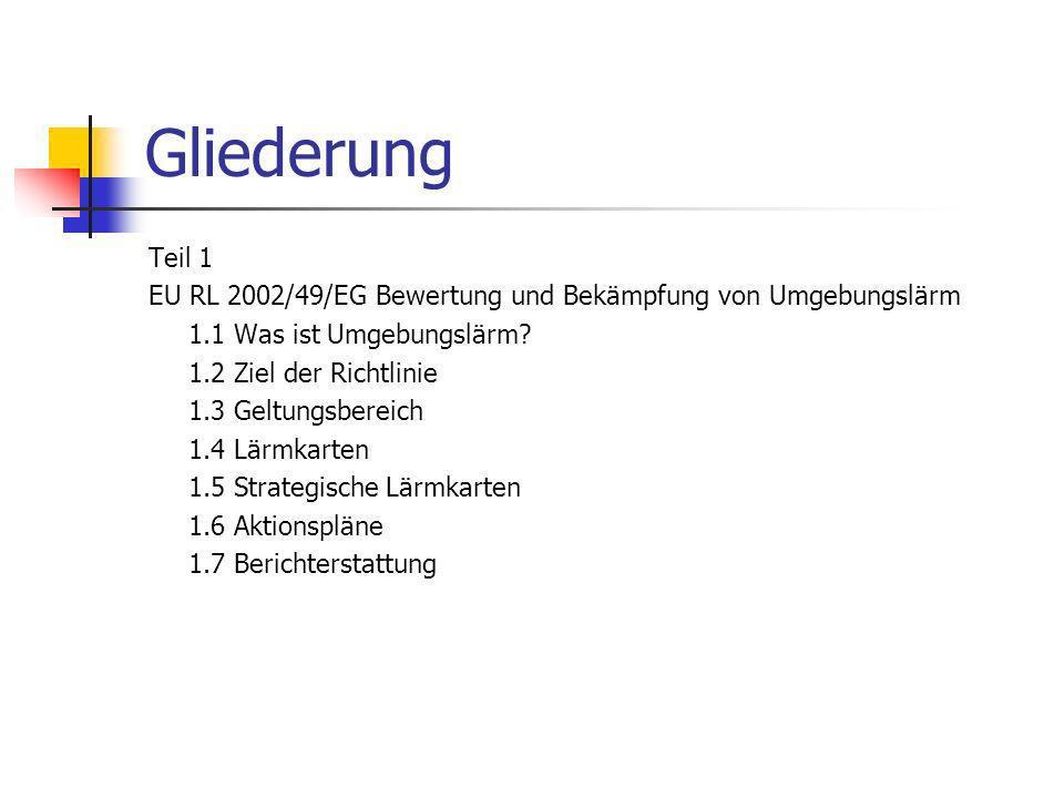 Gliederung Teil 1. EU RL 2002/49/EG Bewertung und Bekämpfung von Umgebungslärm. 1.1 Was ist Umgebungslärm