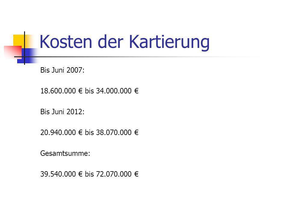 Kosten der Kartierung Bis Juni 2007: 18.600.000 € bis 34.000.000 €