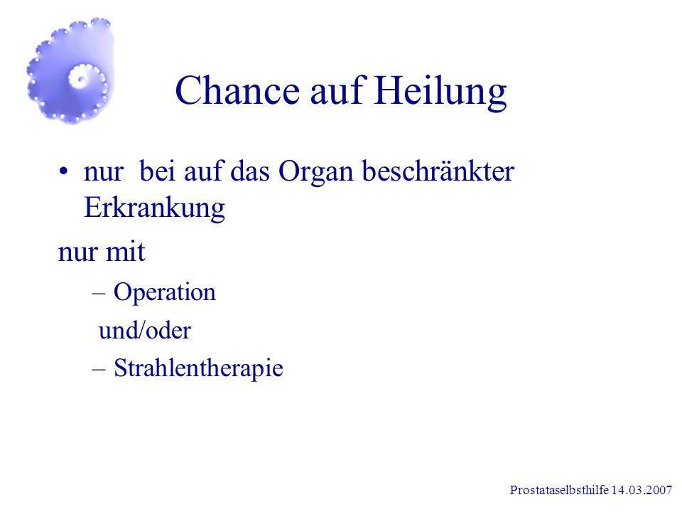 Chance auf Heilung nur bei auf das Organ beschränkter Erkrankung