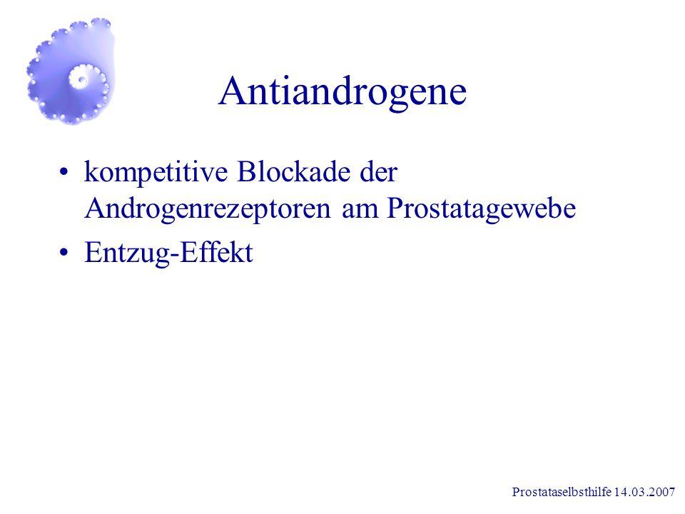 Antiandrogene kompetitive Blockade der Androgenrezeptoren am Prostatagewebe.
