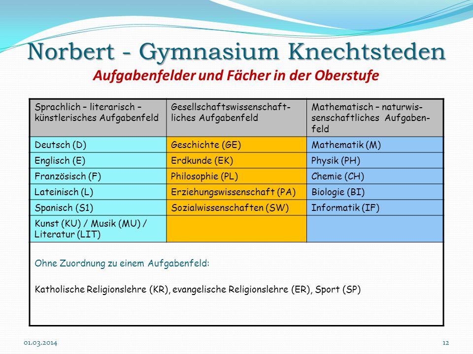 Norbert - Gymnasium Knechtsteden Aufgabenfelder und Fächer in der Oberstufe
