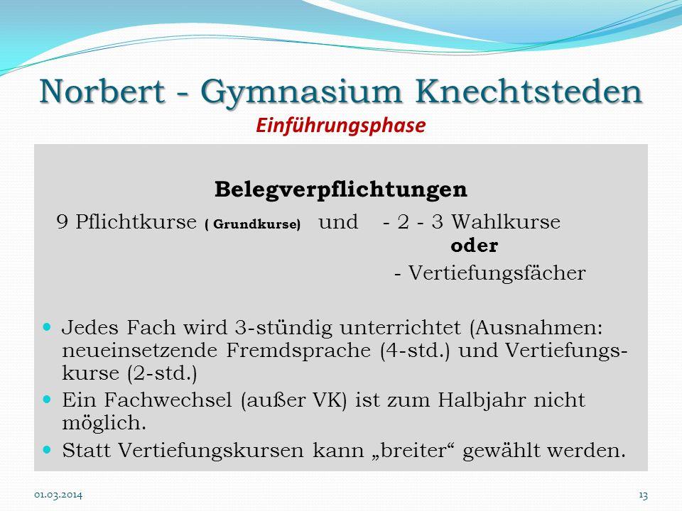 Norbert - Gymnasium Knechtsteden Einführungsphase