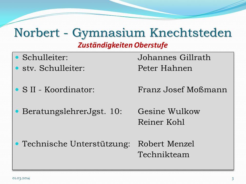 Norbert - Gymnasium Knechtsteden Zuständigkeiten Oberstufe