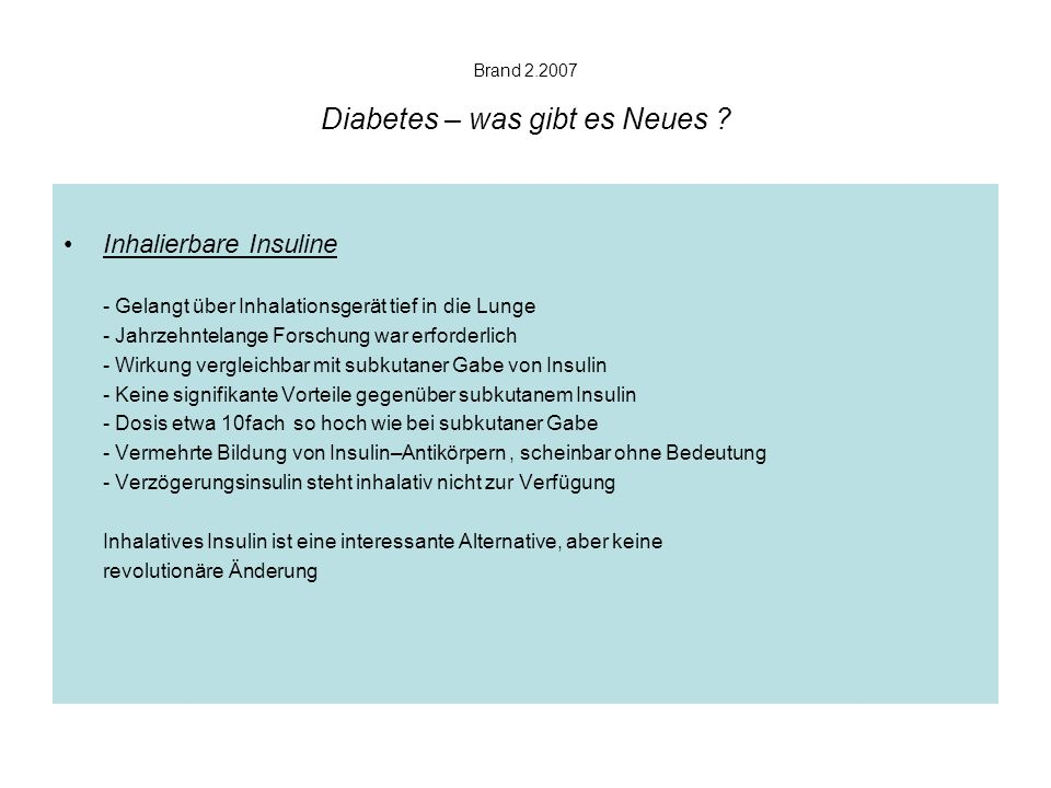 Brand 2.2007 Diabetes – was gibt es Neues