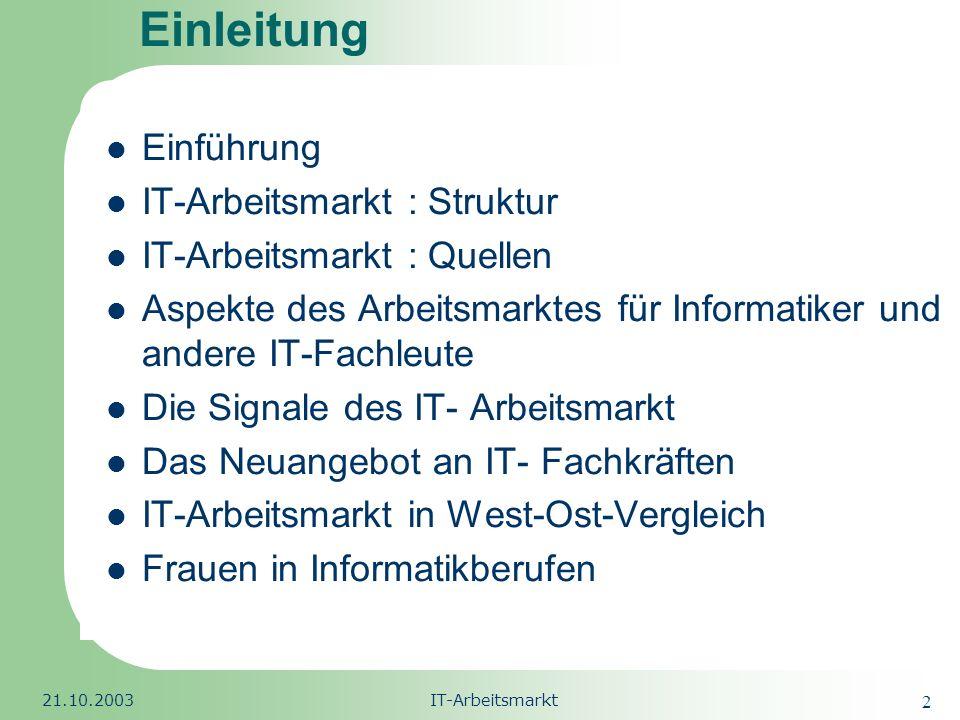 Einleitung Einführung IT-Arbeitsmarkt : Struktur