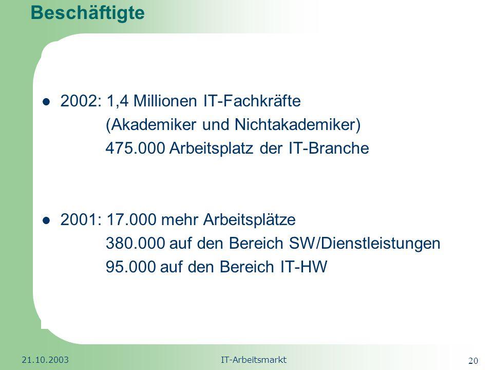 Beschäftigte 2002: 1,4 Millionen IT-Fachkräfte