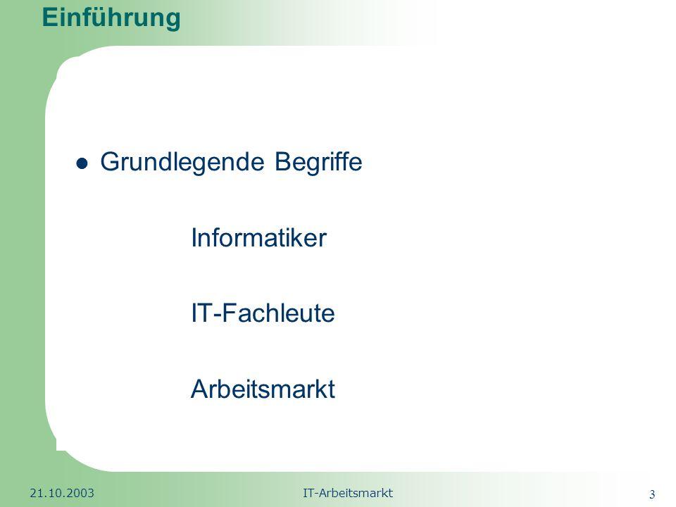 Grundlegende Begriffe Informatiker IT-Fachleute Arbeitsmarkt