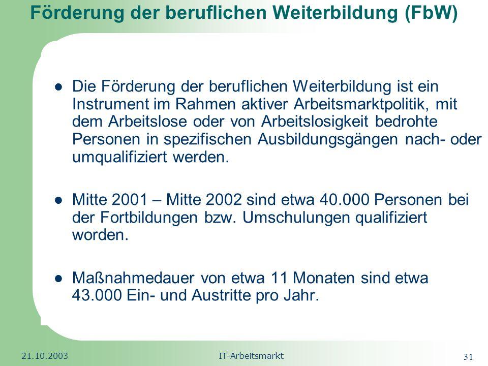 Förderung der beruflichen Weiterbildung (FbW)