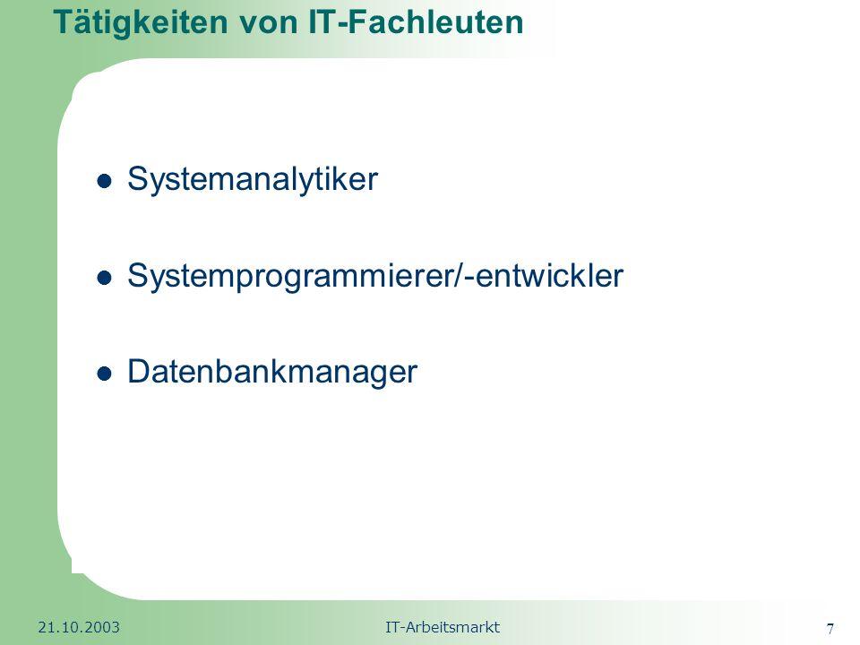 Tätigkeiten von IT-Fachleuten