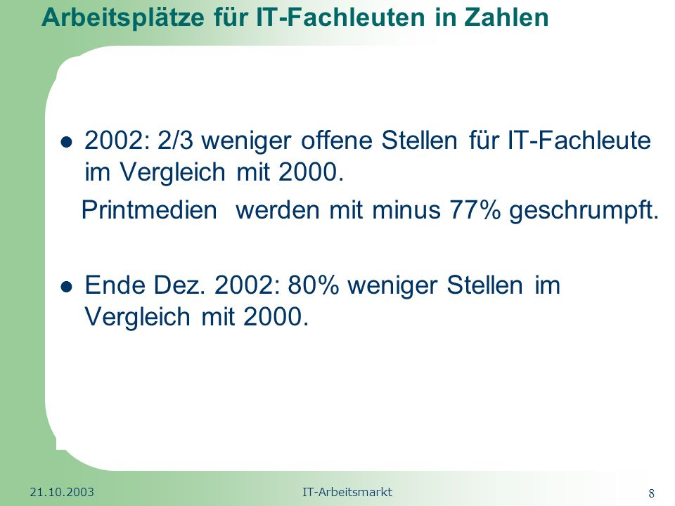 Arbeitsplätze für IT-Fachleuten in Zahlen