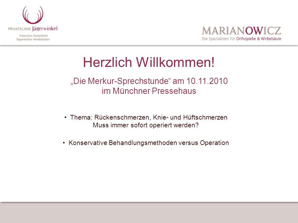 """Herzlich Willkommen! """"Die Merkur-Sprechstunde am 10.11.2010 im Münchner Pressehaus."""