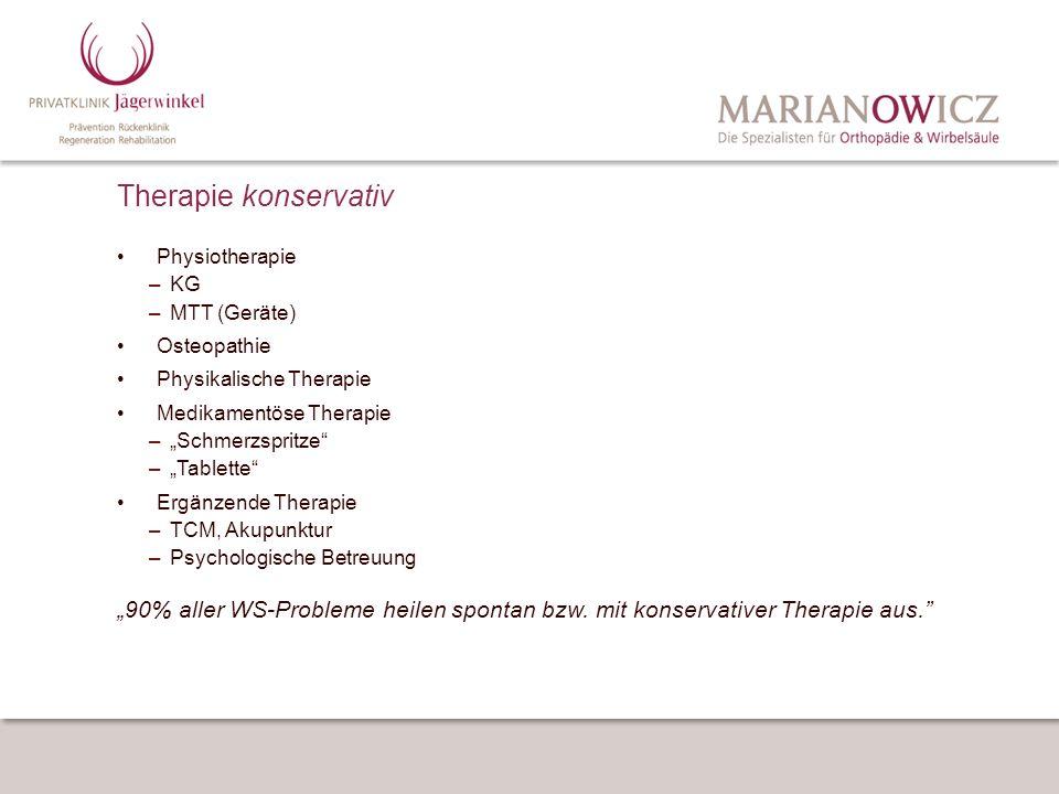 Therapie konservativ Physiotherapie. KG. MTT (Geräte) Osteopathie. Physikalische Therapie. Medikamentöse Therapie.