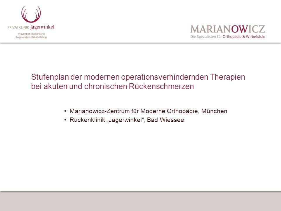 Stufenplan der modernen operationsverhindernden Therapien bei akuten und chronischen Rückenschmerzen