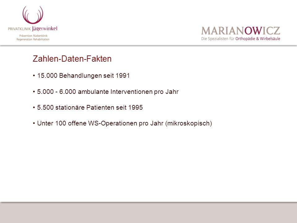 Zahlen-Daten-Fakten 15.000 Behandlungen seit 1991