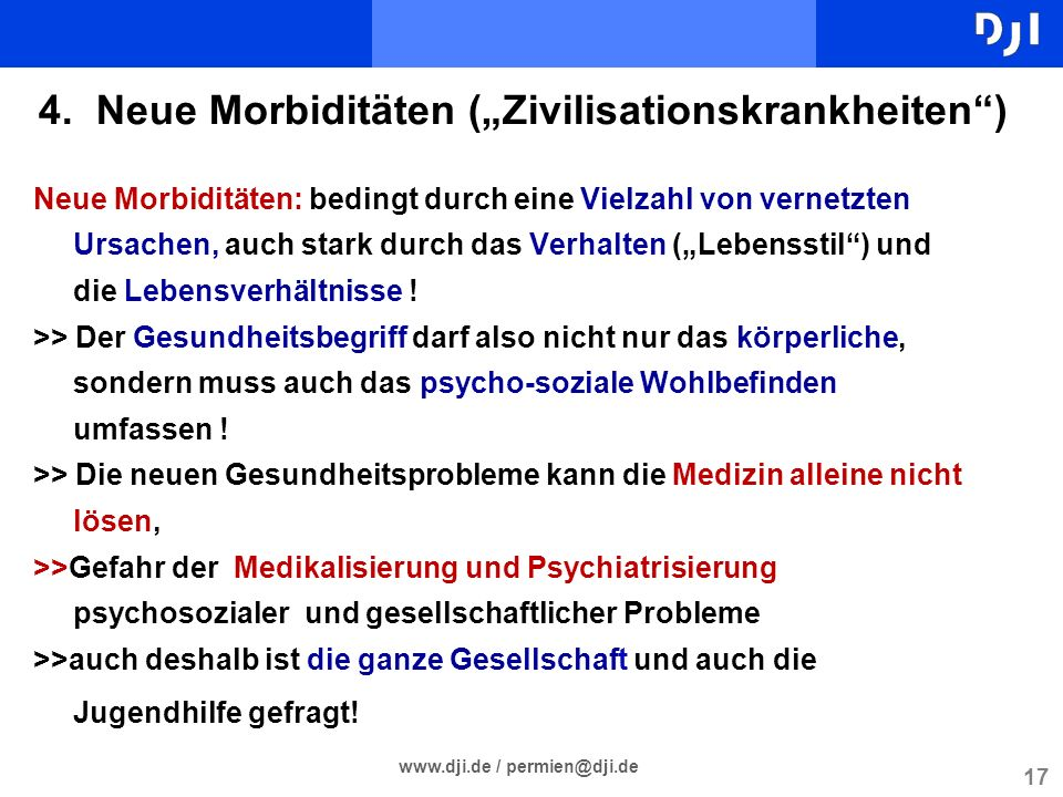 "4. Neue Morbiditäten (""Zivilisationskrankheiten )"