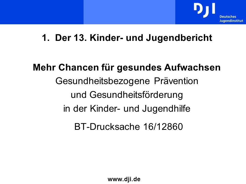 1. Der 13. Kinder- und Jugendbericht Mehr Chancen für gesundes Aufwachsen Gesundheitsbezogene Prävention und Gesundheitsförderung in der Kinder- und Jugendhilfe BT-Drucksache 16/12860