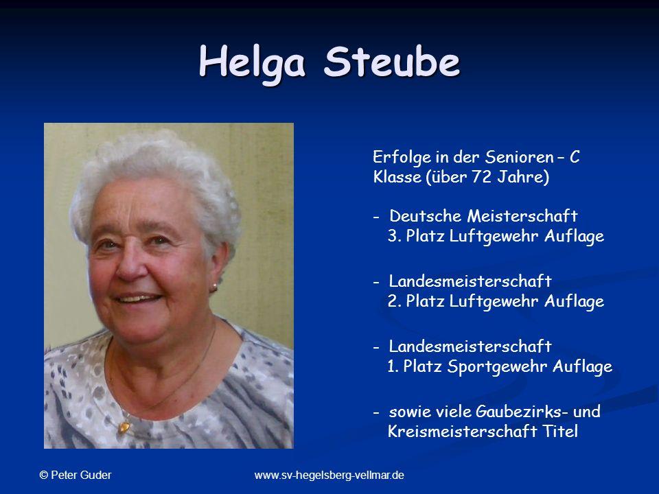 Helga Steube Erfolge in der Senioren – C Klasse (über 72 Jahre) - Deutsche Meisterschaft 3. Platz Luftgewehr Auflage.