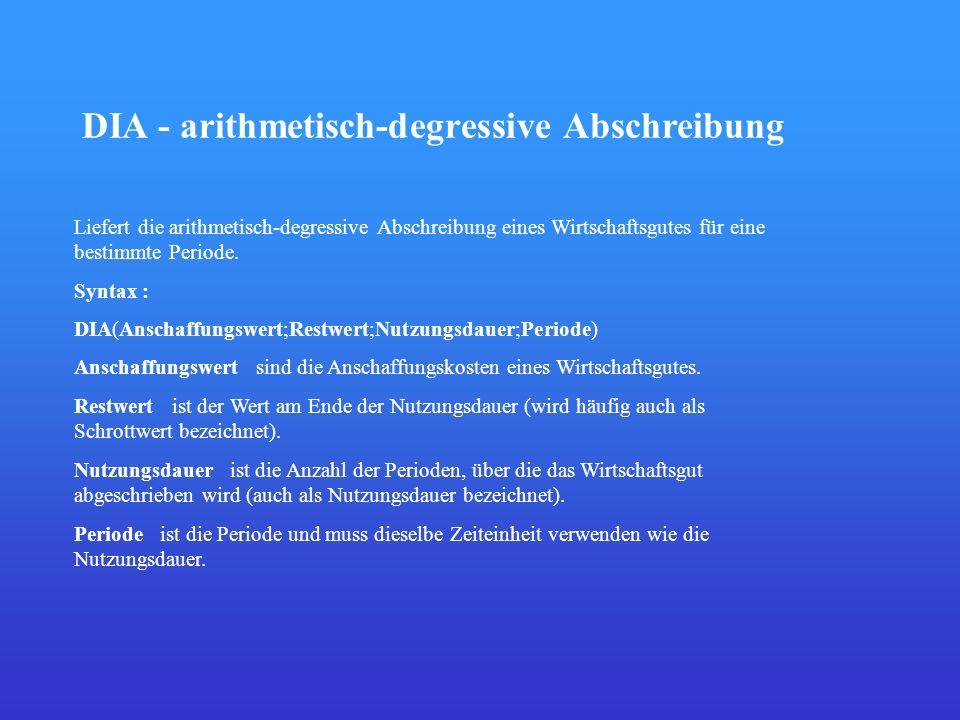 DIA - arithmetisch-degressive Abschreibung