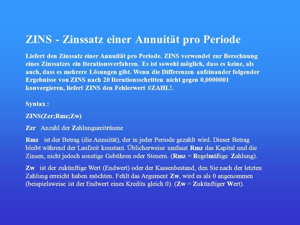 ZINS - Zinssatz einer Annuität pro Periode