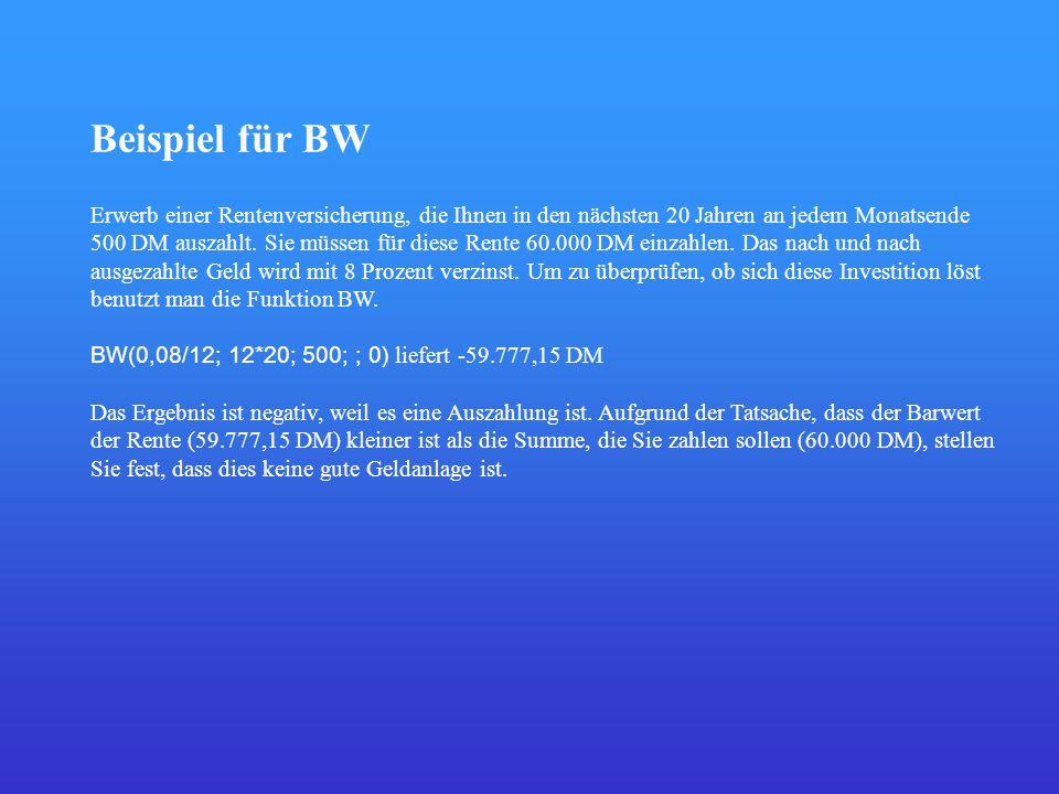 Beispiel für BW