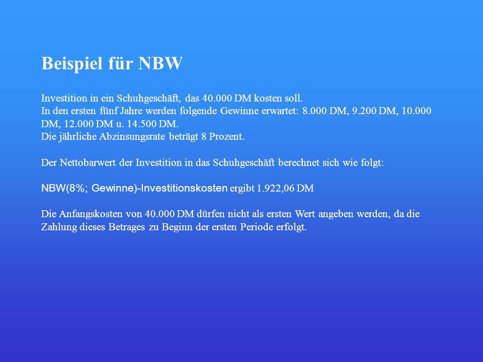 Beispiel für NBW Investition in ein Schuhgeschäft, das 40.000 DM kosten soll.