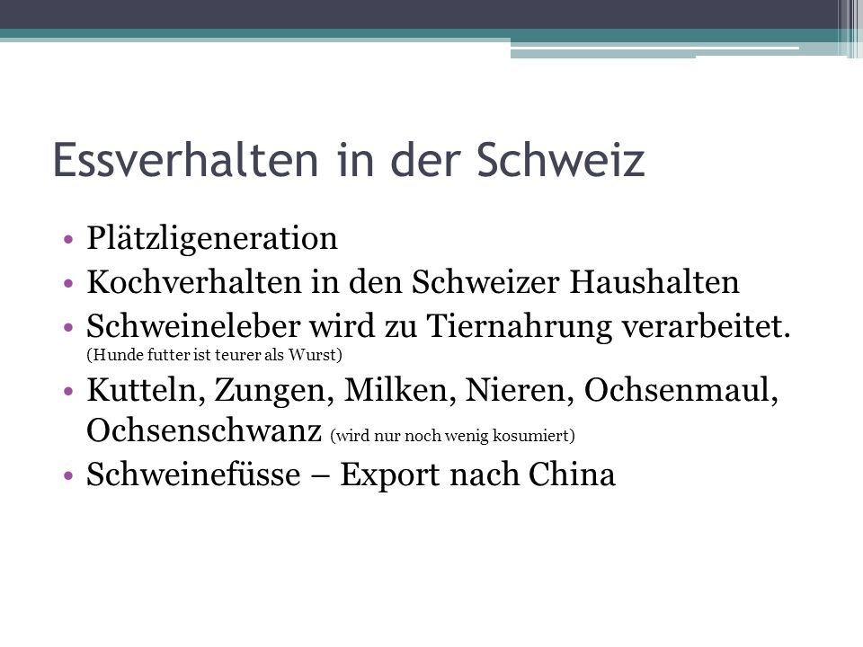 Essverhalten in der Schweiz