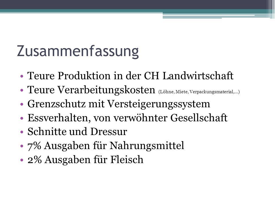 Zusammenfassung Teure Produktion in der CH Landwirtschaft